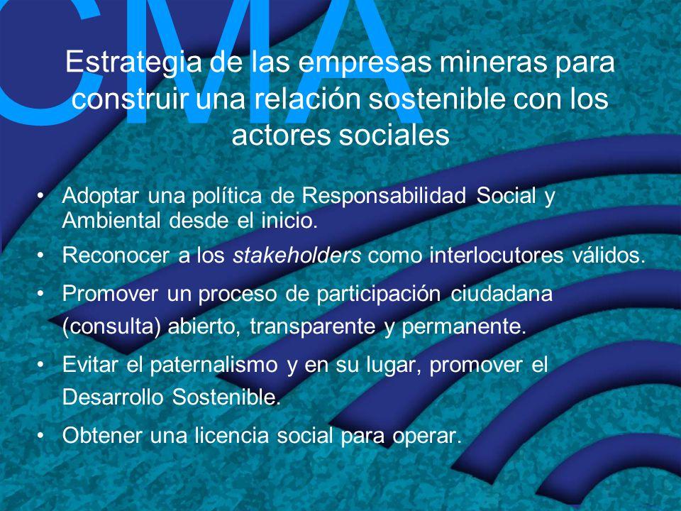 CMA Estrategia de las empresas mineras para construir una relación sostenible con los actores sociales Adoptar una política de Responsabilidad Social
