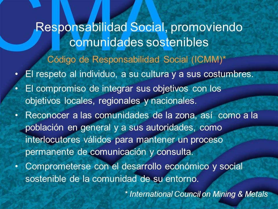 CMA Responsabilidad Social, promoviendo comunidades sostenibles Código de Responsabilidad Social (ICMM)* El respeto al individuo, a su cultura y a sus