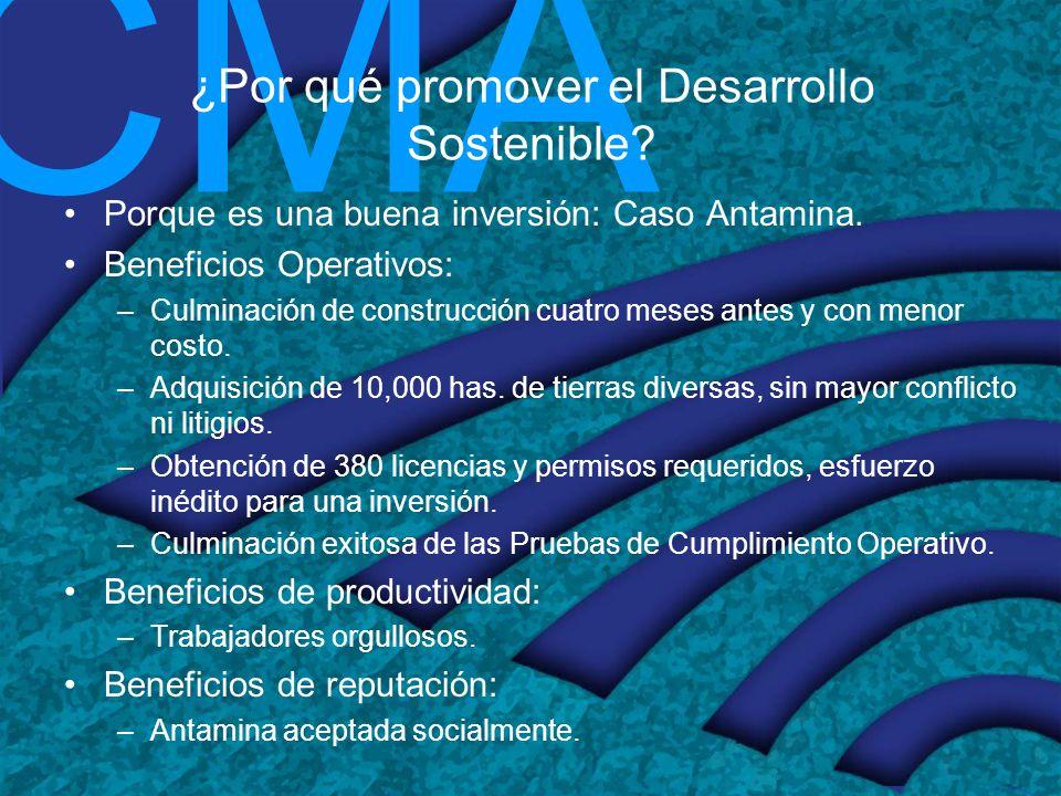 CMA ¿Por qué promover el Desarrollo Sostenible? Porque es una buena inversión: Caso Antamina. Beneficios Operativos: –Culminación de construcción cuat
