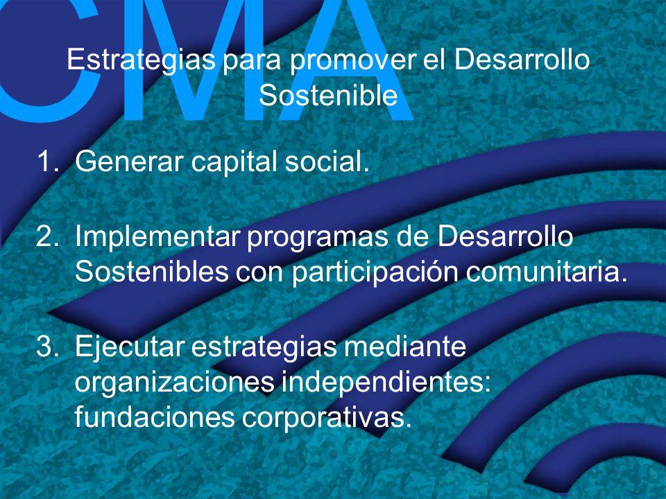 CMA Estrategias para promover el Desarrollo Sostenible 1.Generar capital social. 2.Implementar programas de Desarrollo Sostenibles con participación c