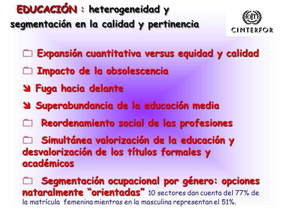EDUCACIÓN EDUCACIÓN : heterogeneidad y segmentación en la calidad y pertinencia 0 Expansión cuantitativa versus equidad y calidad 0 Impacto de la obso