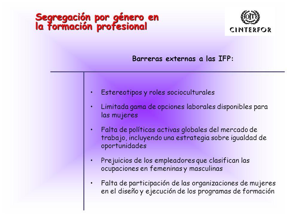 Segregación por género en la formación profesional Estereotipos y roles socioculturales Limitada gama de opciones laborales disponibles para las mujer