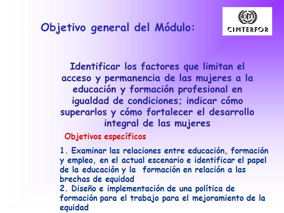 Objetivo general del Módulo: Identificar los factores que limitan el acceso y permanencia de las mujeres a la educación y formación profesional en igu