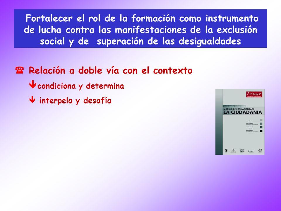 Fortalecer el rol de la formación como instrumento de lucha contra las manifestaciones de la exclusión social y de superación de las desigualdades ( (