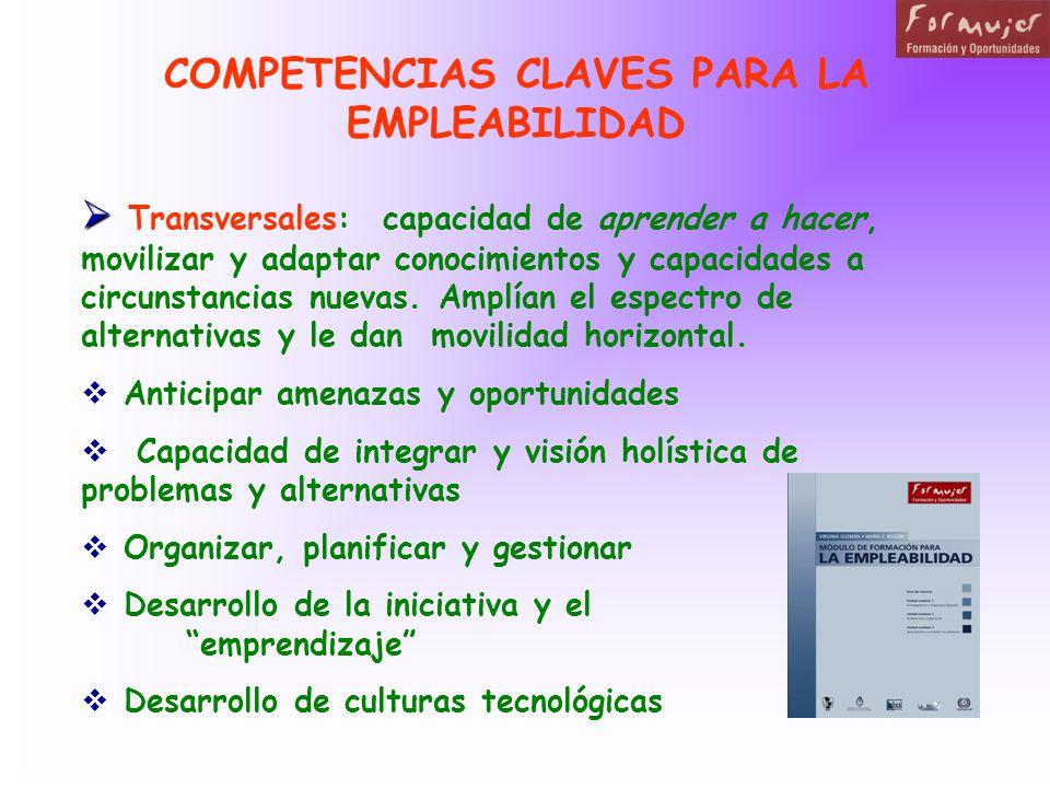 COMPETENCIAS CLAVES PARA LA EMPLEABILIDAD Transversales: capacidad de aprender a hacer, movilizar y adaptar conocimientos y capacidades a circunstancias nuevas.