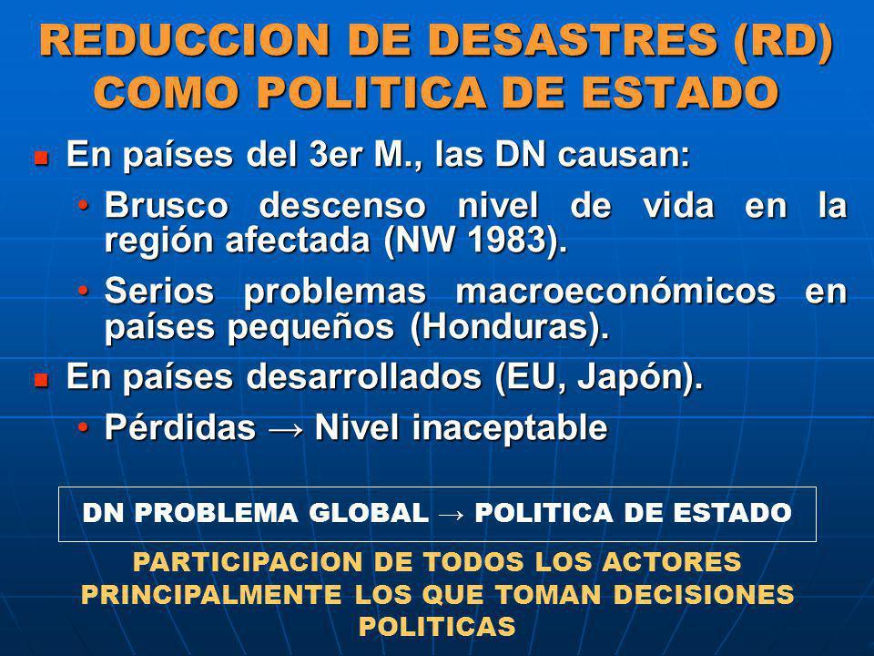 REDUCCION DE DESASTRES (RD) COMO POLITICA DE ESTADO En países del 3er M., las DN causan: En países del 3er M., las DN causan: Brusco descenso nivel de