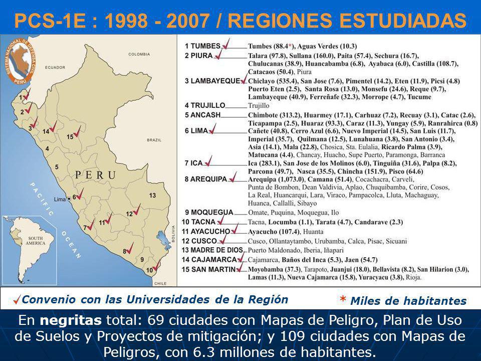 PCS-1E : 1998 - 2007 / REGIONES ESTUDIADAS En negritas total: 69 ciudades con Mapas de Peligro, Plan de Uso de Suelos y Proyectos de mitigación; y 109