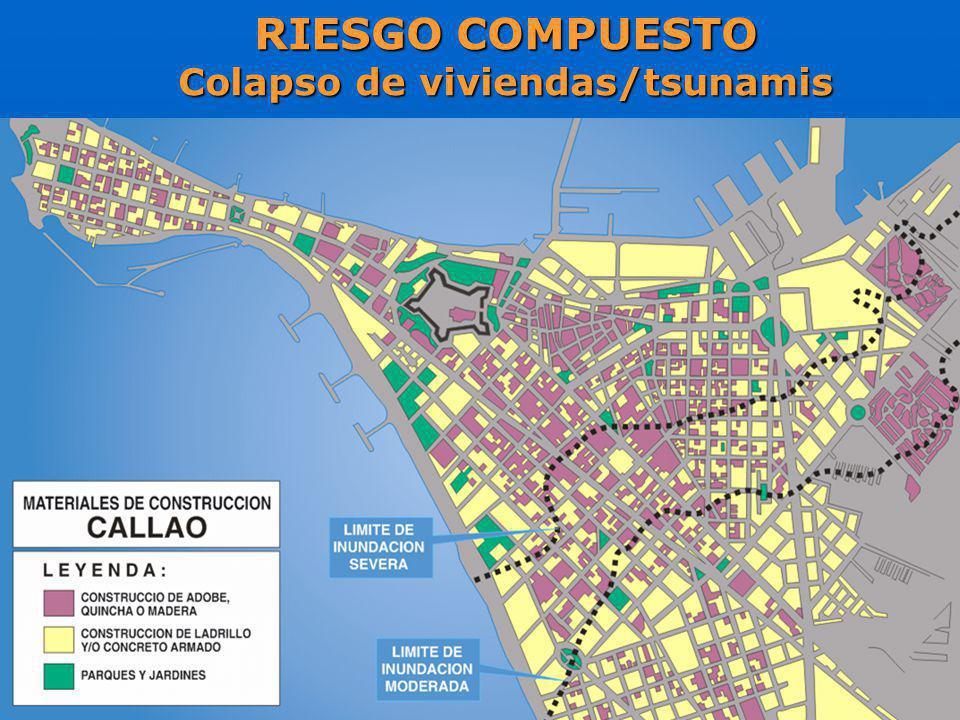RIESGO COMPUESTO Colapso de viviendas/tsunamis