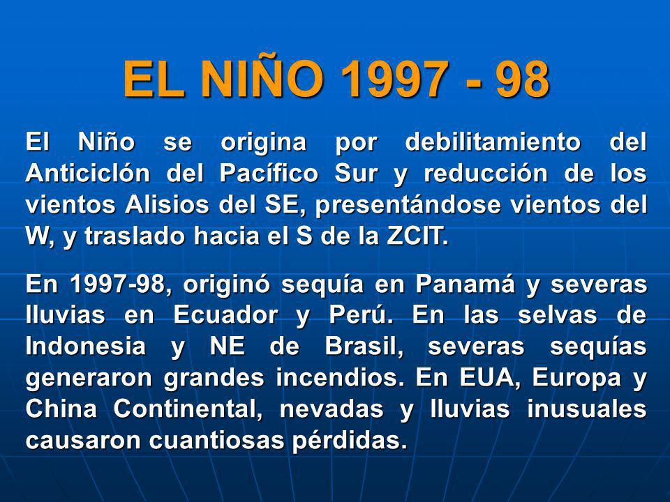 EL NIÑO 1997 - 98 El Niño se origina por debilitamiento del Anticiclón del Pacífico Sur y reducción de los vientos Alisios del SE, presentándose vient