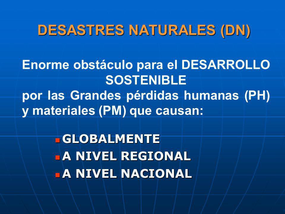 DESASTRES NATURALES (DN) GLOBALMENTE GLOBALMENTE A NIVEL REGIONAL A NIVEL REGIONAL A NIVEL NACIONAL A NIVEL NACIONAL Enorme obstáculo para el DESARROL