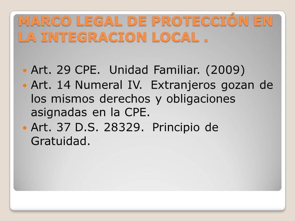 MARCO LEGAL DE PROTECCIÓN EN LA INTEGRACION LOCAL. Art. 29 CPE. Unidad Familiar. (2009) Art. 14 Numeral IV. Extranjeros gozan de los mismos derechos y