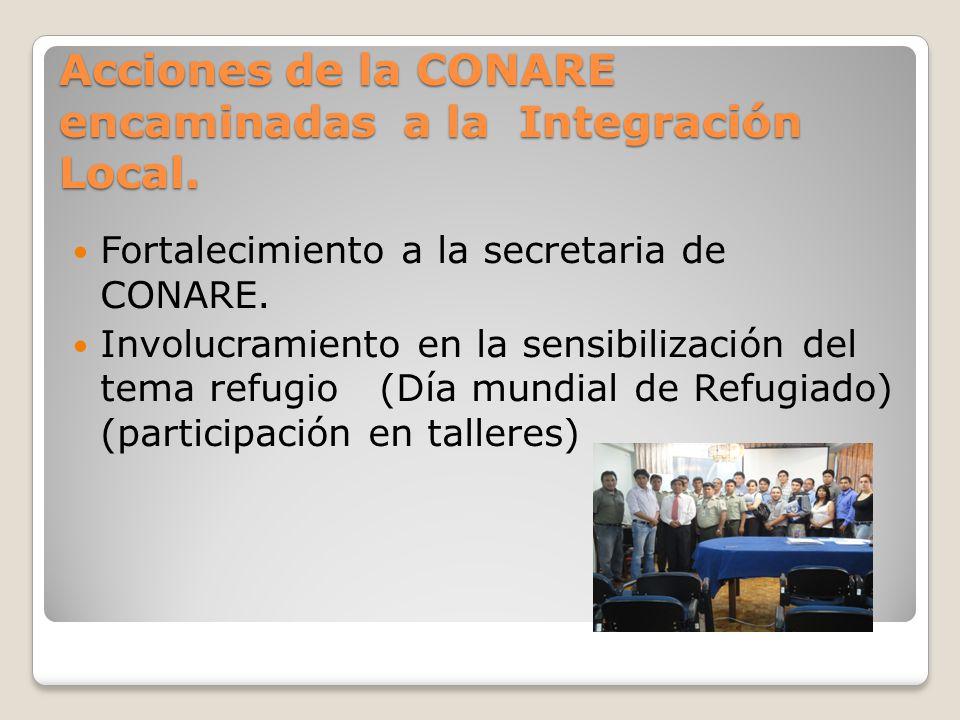 Acciones de la CONARE encaminadas a la Integración Local.