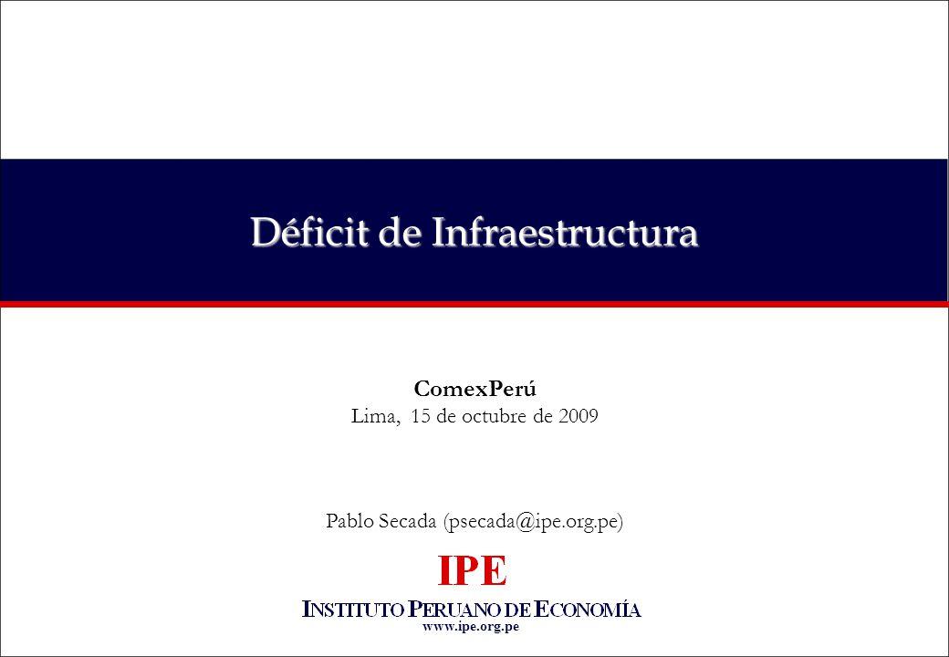 www.ipe.org.pe Déficit de Infraestructura ComexPerú Lima, 15 de octubre de 2009 Pablo Secada (psecada@ipe.org.pe)