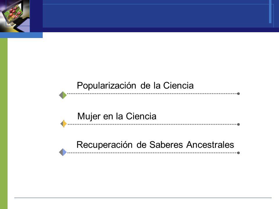 Popularización de la Ciencia Mujer en la Ciencia Recuperación de Saberes Ancestrales