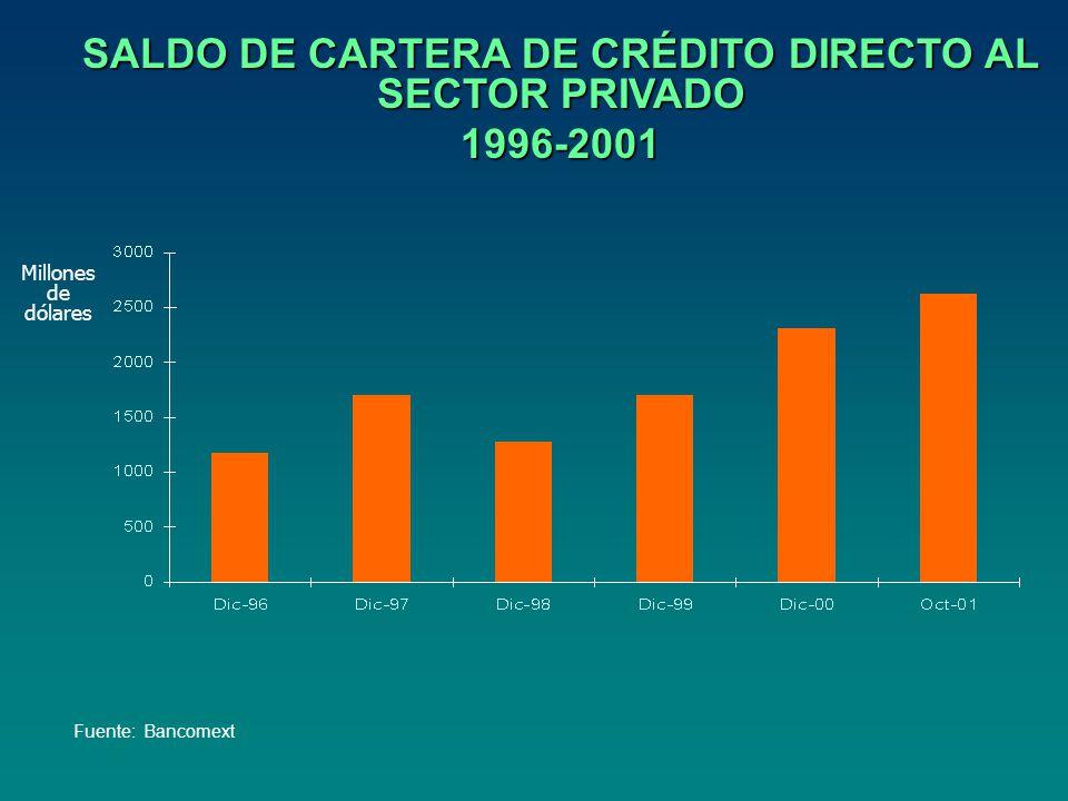SALDO DE CARTERA DE CRÉDITO DIRECTO AL SECTOR PRIVADO 1996-2001 Millones de dólares Fuente: Bancomext