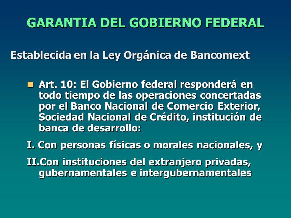 Establecida en la Ley Orgánica de Bancomext GARANTIA DEL GOBIERNO FEDERAL Art.
