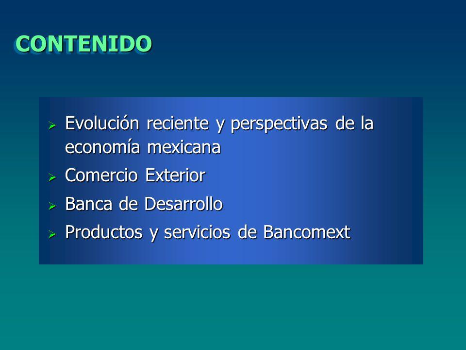 CONTENIDOCONTENIDO Evolución reciente y perspectivas de la economía mexicana Evolución reciente y perspectivas de la economía mexicana Comercio Exterior Comercio Exterior Banca de Desarrollo Banca de Desarrollo Productos y servicios de Bancomext Productos y servicios de Bancomext