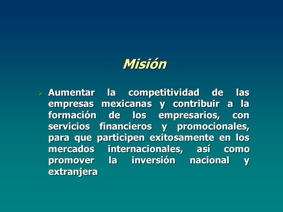Misión Aumentar la competitividad de las empresas mexicanas y contribuir a la formación de los empresarios, con servicios financieros y promocionales, para que participen exitosamente en los mercados internacionales, así como promover la inversión nacional y extranjera Aumentar la competitividad de las empresas mexicanas y contribuir a la formación de los empresarios, con servicios financieros y promocionales, para que participen exitosamente en los mercados internacionales, así como promover la inversión nacional y extranjera