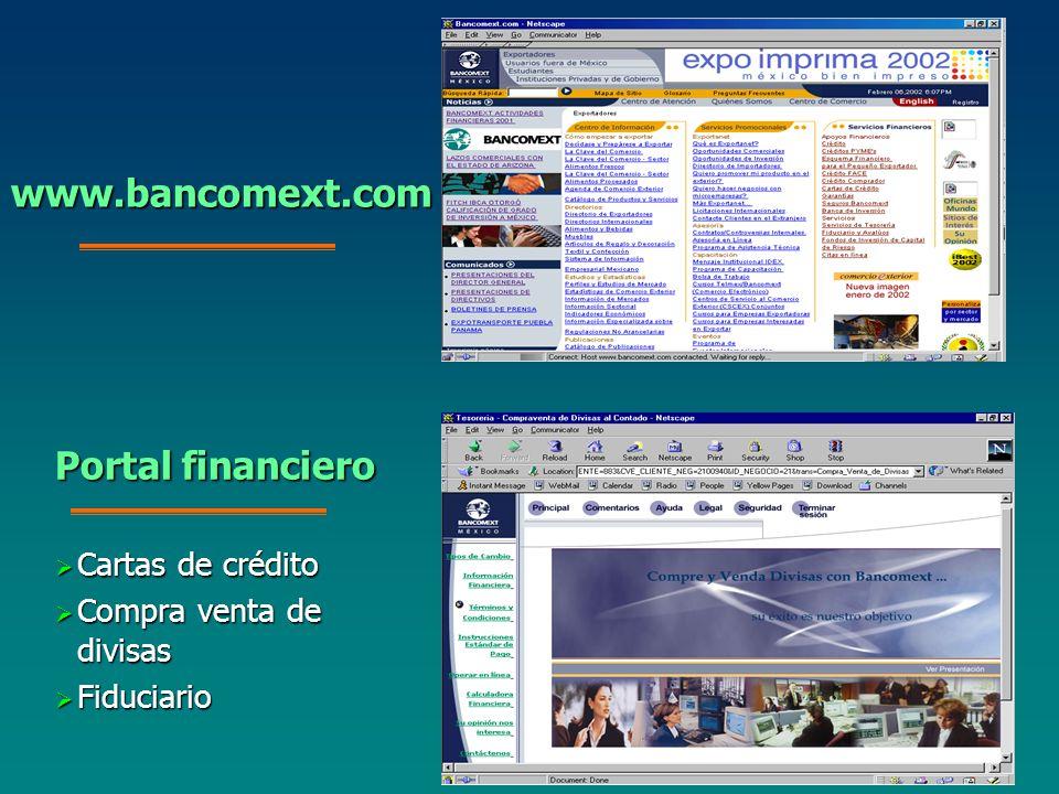 Cartas de crédito Cartas de crédito Compra venta de divisas Compra venta de divisas Fiduciario Fiduciario www.bancomext.com Portal financiero