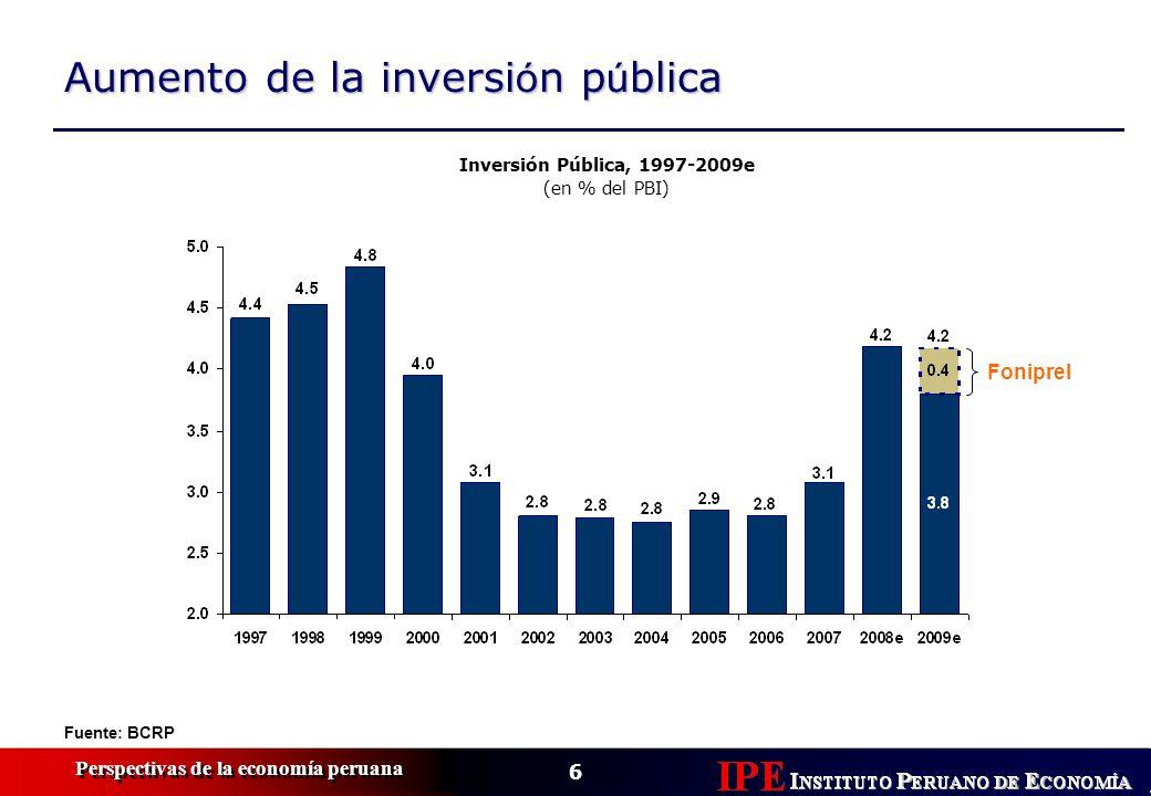 6 Perspectivas de la economía peruana Aumento de la inversi ó n p ú blica Fuente: BCRP Inversión Pública, 1997-2009e (en % del PBI) Foniprel
