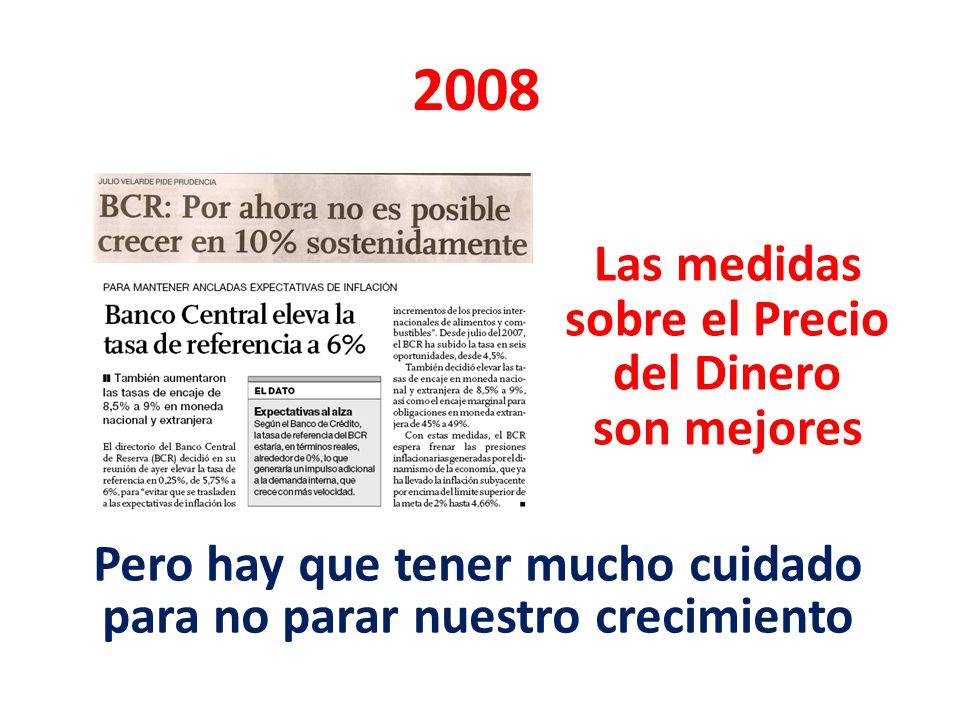 2008 Las medidas sobre el Precio del Dinero son mejores Pero hay que tener mucho cuidado para no parar nuestro crecimiento