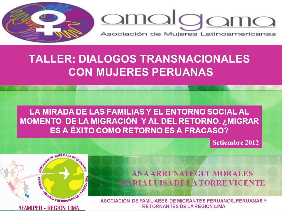 TALLER: DIALOGOS TRANSNACIONALES CON MUJERES PERUANAS LA MIRADA DE LAS FAMILIAS Y EL ENTORNO SOCIAL AL MOMENTO DE LA MIGRACIÓN Y AL DEL RETORNO.