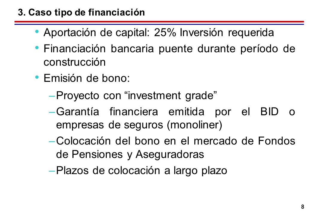 8 3. Caso tipo de financiación Aportación de capital: 25% Inversión requerida Financiación bancaria puente durante período de construcción Emisión de