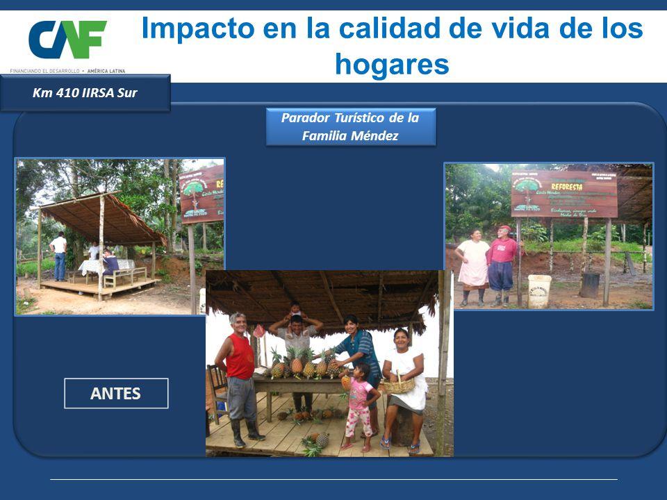 ANTES Impacto en la calidad de vida de los hogares Parador Turístico de la Familia Méndez Km 410 IIRSA Sur