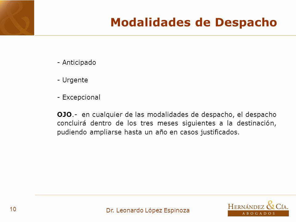 10 Dr. Leonardo López Espinoza Modalidades de Despacho - Anticipado - Urgente - Excepcional OJO.- en cualquier de las modalidades de despacho, el desp