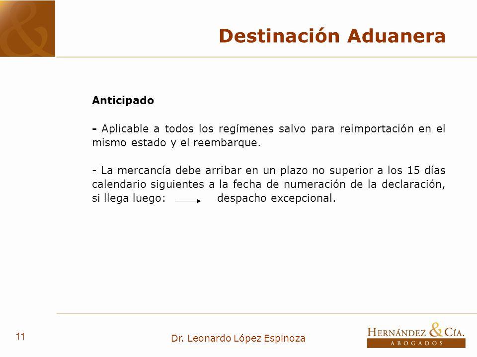 11 Dr. Leonardo López Espinoza Destinación Aduanera Anticipado - Aplicable a todos los regímenes salvo para reimportación en el mismo estado y el reem