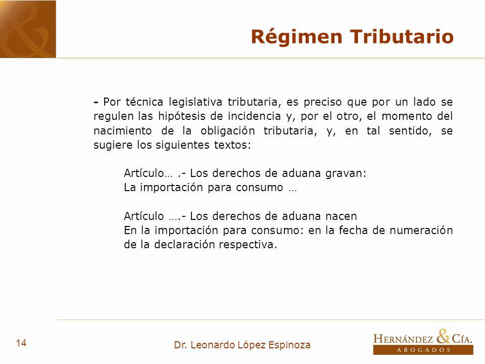 14 Dr. Leonardo López Espinoza Régimen Tributario - Por técnica legislativa tributaria, es preciso que por un lado se regulen las hipótesis de inciden