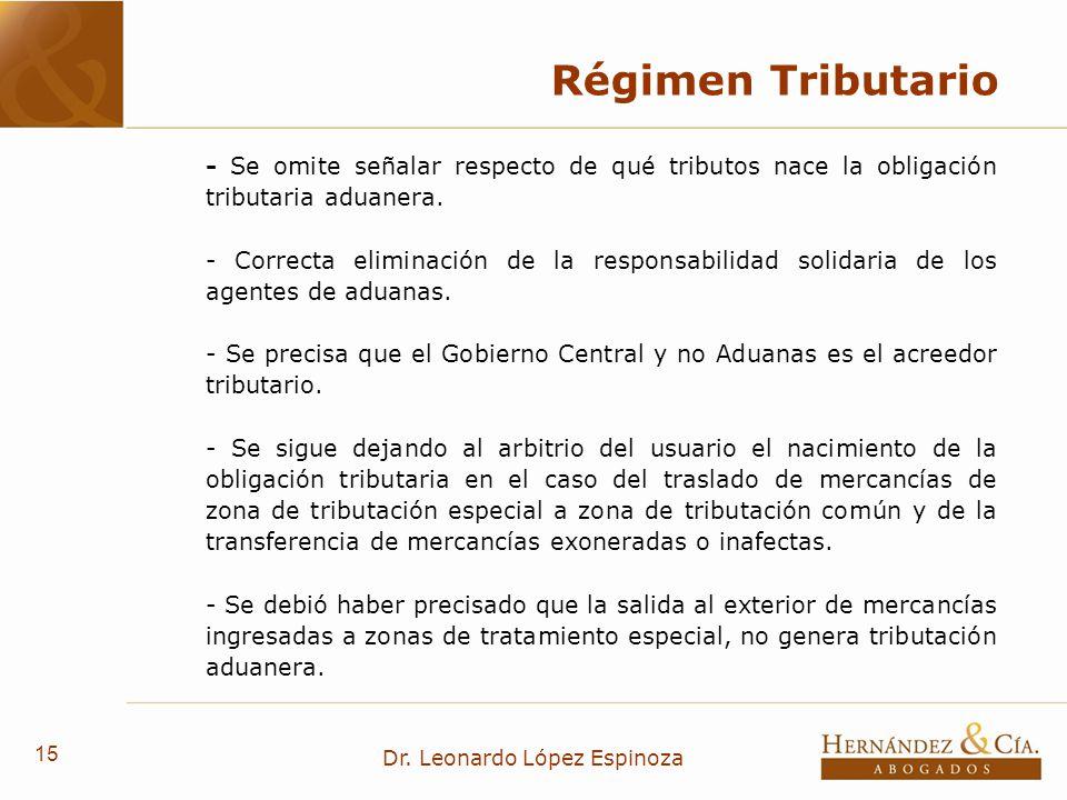 15 Dr. Leonardo López Espinoza Régimen Tributario - Se omite señalar respecto de qué tributos nace la obligación tributaria aduanera. - Correcta elimi