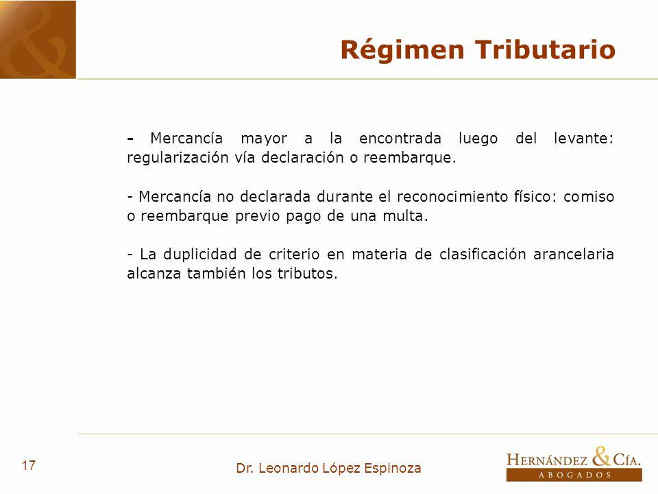 17 Dr. Leonardo López Espinoza Régimen Tributario - Mercancía mayor a la encontrada luego del levante: regularización vía declaración o reembarque. -
