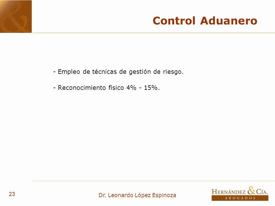 23 Dr. Leonardo López Espinoza Control Aduanero - Empleo de técnicas de gestión de riesgo. - Reconocimiento físico 4% - 15%.