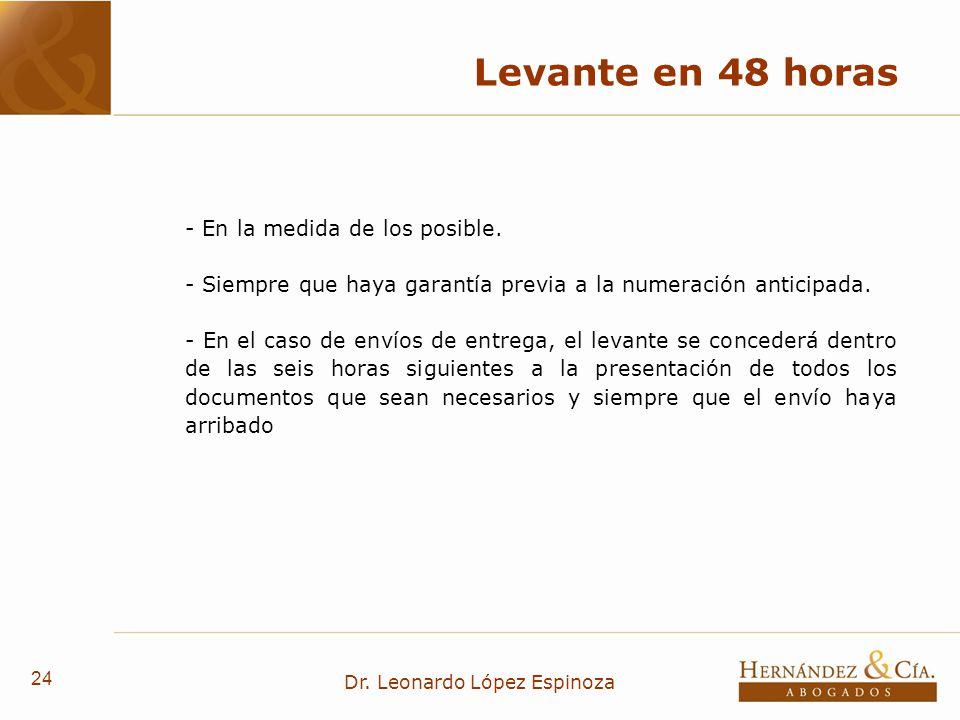 24 Dr. Leonardo López Espinoza Levante en 48 horas - En la medida de los posible. - Siempre que haya garantía previa a la numeración anticipada. - En