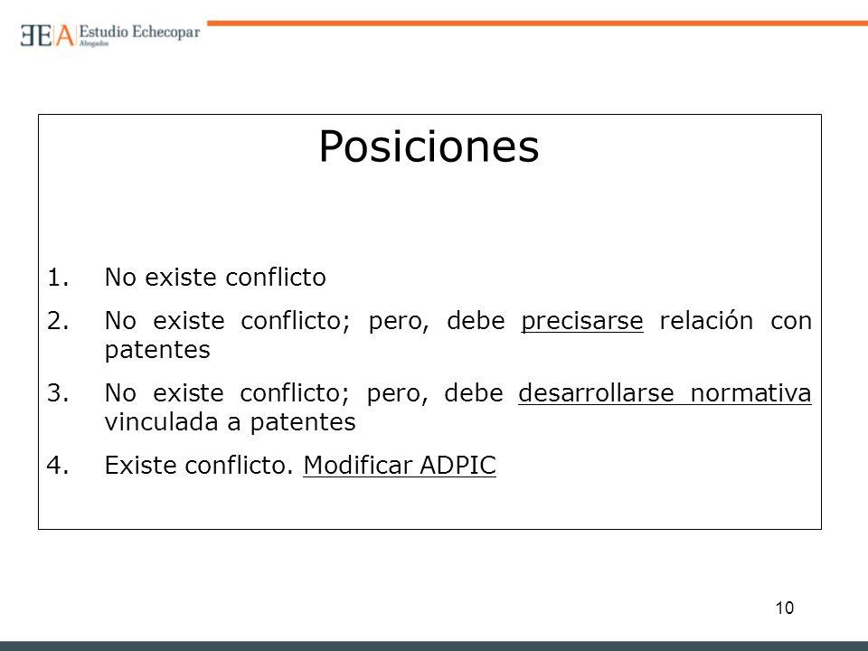 10 Posiciones 1.No existe conflicto 2.No existe conflicto; pero, debe precisarse relación con patentes 3.No existe conflicto; pero, debe desarrollarse