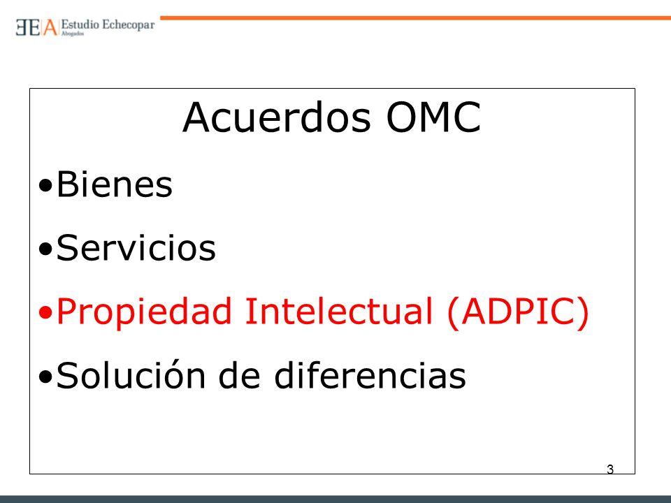 3 Acuerdos OMC Bienes Servicios Propiedad Intelectual (ADPIC) Solución de diferencias