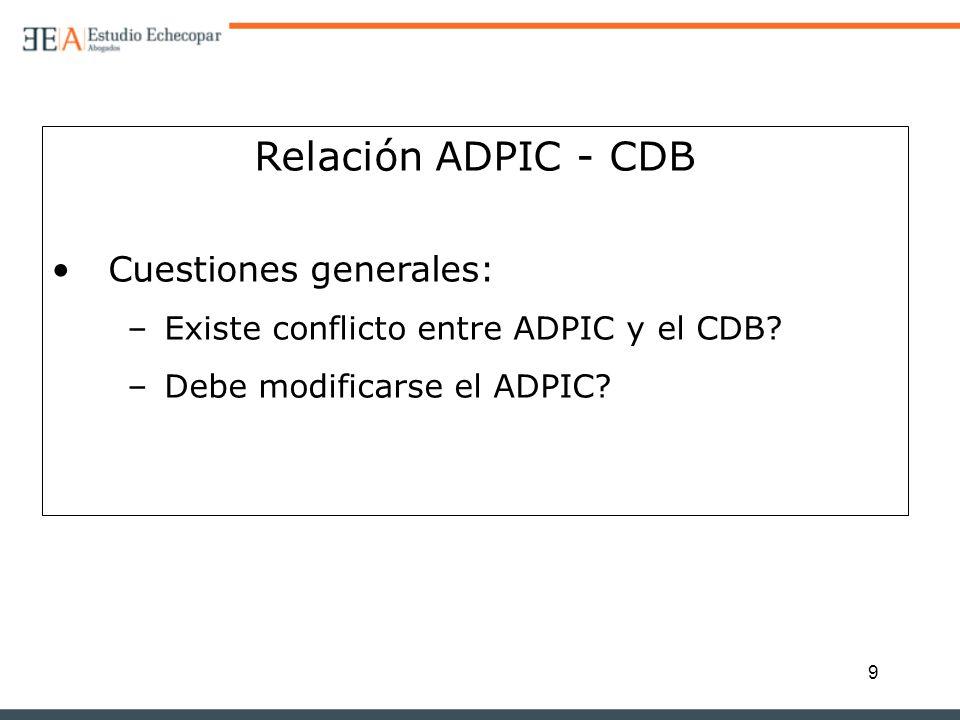 9 Relación ADPIC - CDB Cuestiones generales: –Existe conflicto entre ADPIC y el CDB? –Debe modificarse el ADPIC?