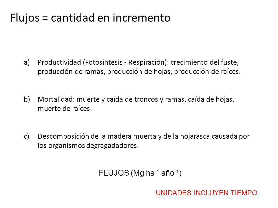 Flujos = cantidad en incremento a)Productividad (Fotosíntesis - Respiración): crecimiento del fuste, producción de ramas, producción de hojas, producc
