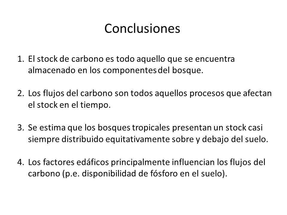 Conclusiones 1.El stock de carbono es todo aquello que se encuentra almacenado en los componentes del bosque. 2.Los flujos del carbono son todos aquel