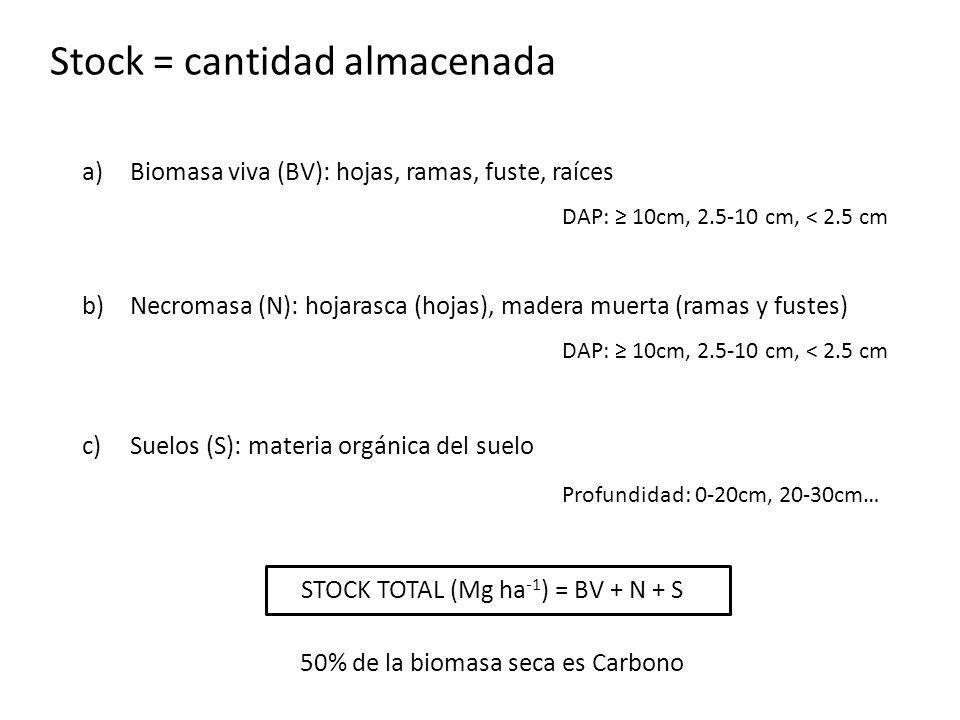 Stock = cantidad almacenada a)Biomasa viva (BV): hojas, ramas, fuste, raíces DAP: 10cm, 2.5-10 cm, < 2.5 cm b)Necromasa (N): hojarasca (hojas), madera