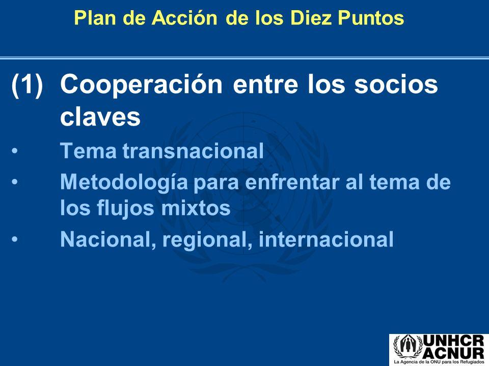 Plan de Acción de los Diez Puntos (1)Cooperación entre los socios claves Tema transnacional Metodología para enfrentar al tema de los flujos mixtos Na