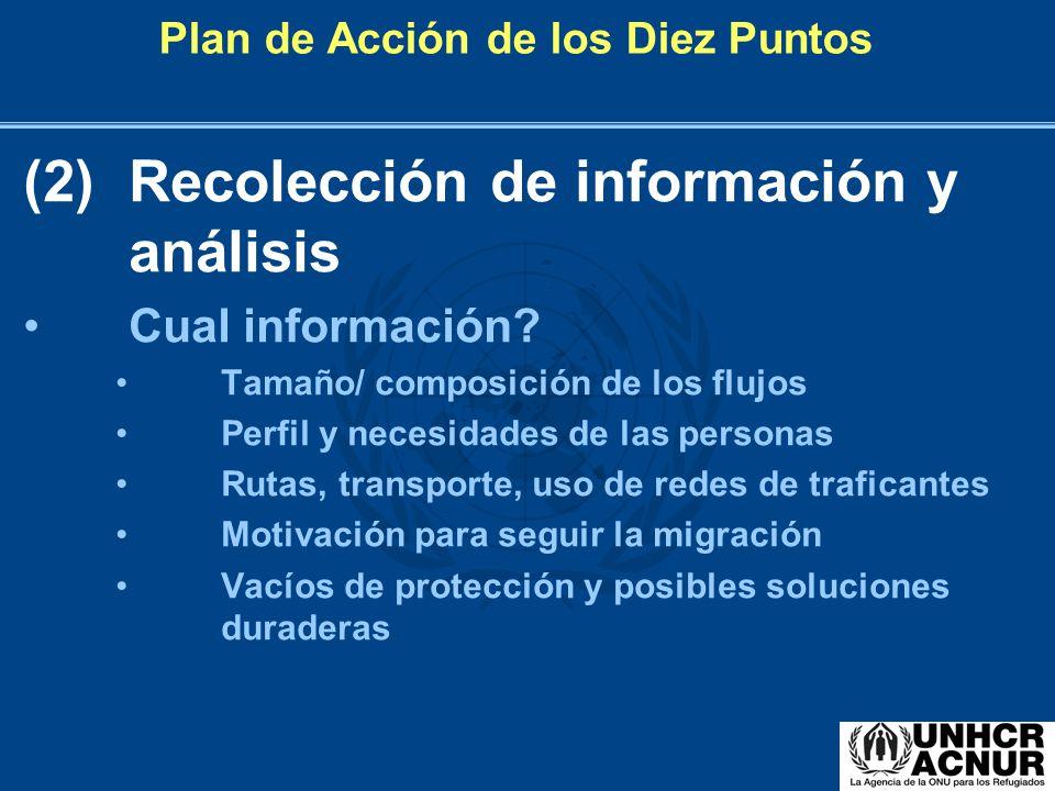 Plan de Acción de los Diez Puntos (2)Recolección de información y análisis Cual información? Tamaño/ composición de los flujos Perfil y necesidades de