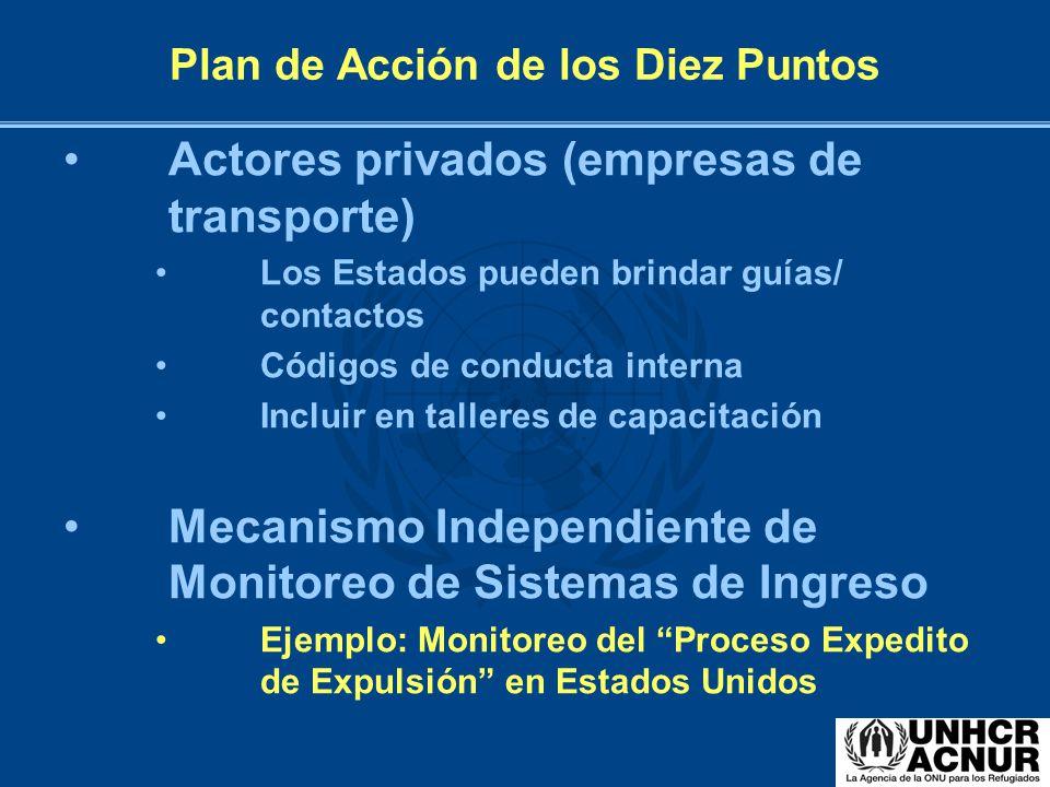 Plan de Acción de los Diez Puntos Actores privados (empresas de transporte) Los Estados pueden brindar guías/ contactos Códigos de conducta interna In