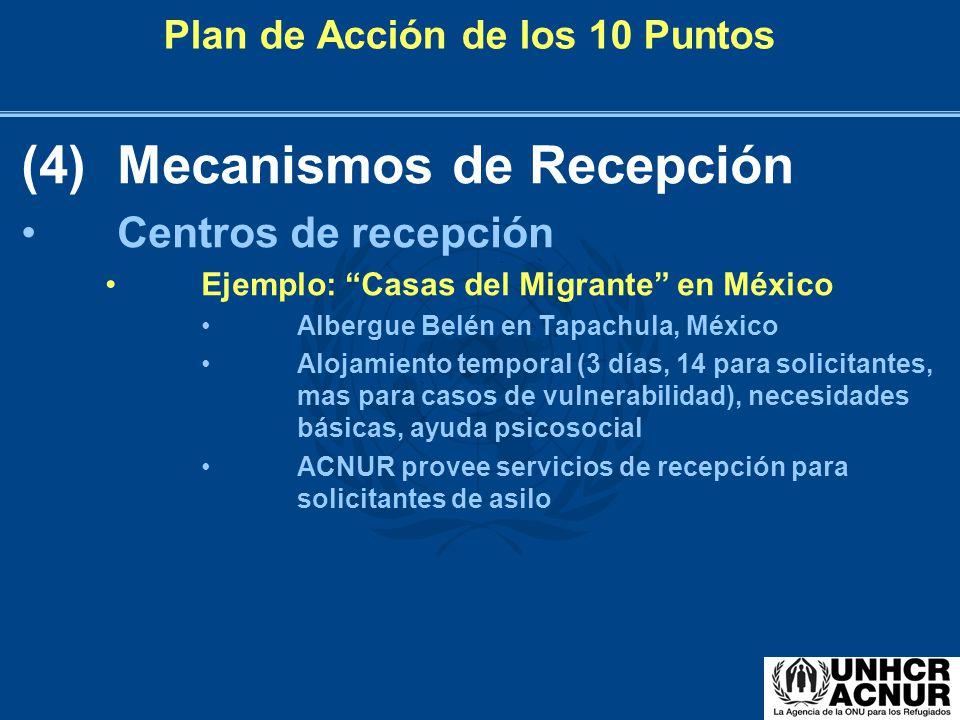 Plan de Acción de los 10 Puntos (4)Mecanismos de Recepción Centros de recepción Ejemplo: Casas del Migrante en México Albergue Belén en Tapachula, Méx