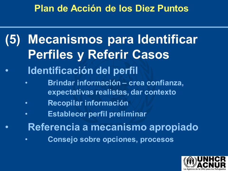 Plan de Acción de los Diez Puntos (5)Mecanismos para Identificar Perfiles y Referir Casos Identificación del perfil Brindar información – crea confian