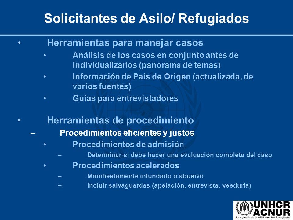 Herramientas para manejar casos Análisis de los casos en conjunto antes de individualizarlos (panorama de temas) Información de País de Origen (actual