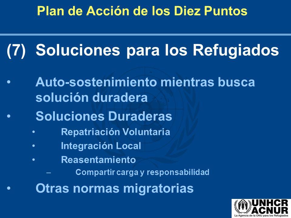Plan de Acción de los Diez Puntos (7)Soluciones para los Refugiados Auto-sostenimiento mientras busca solución duradera Soluciones Duraderas Repatriac