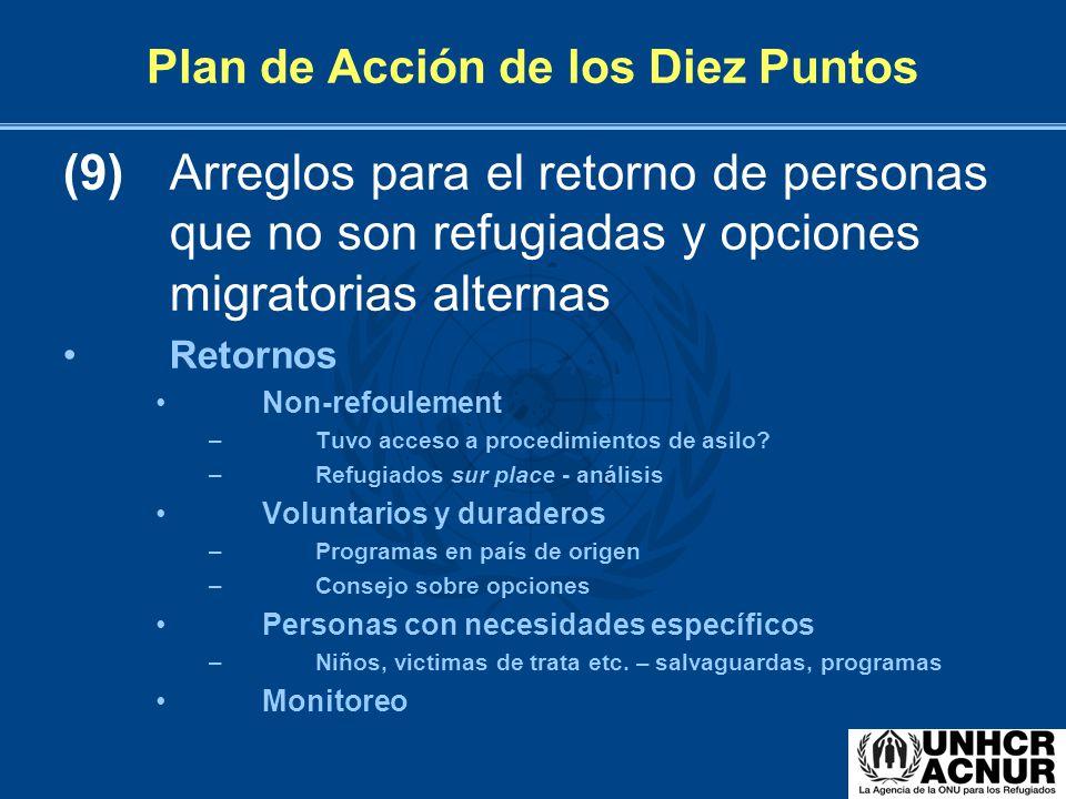 Plan de Acción de los Diez Puntos (9) Arreglos para el retorno de personas que no son refugiadas y opciones migratorias alternas Retornos Non-refoulem