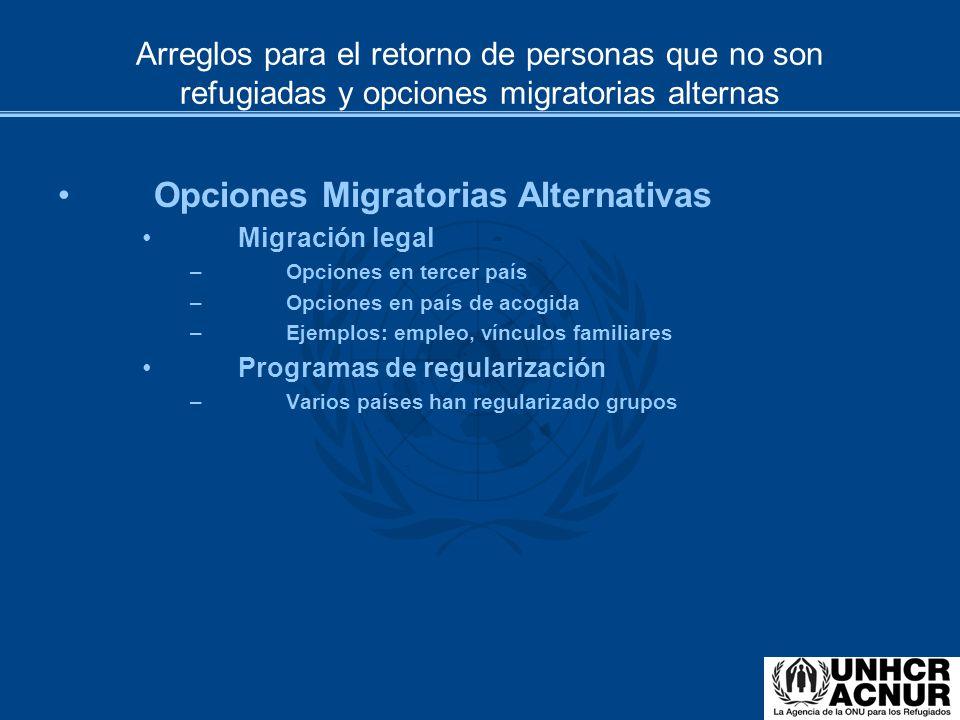 Arreglos para el retorno de personas que no son refugiadas y opciones migratorias alternas Opciones Migratorias Alternativas Migración legal –Opciones